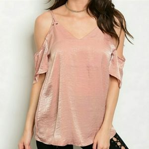 Annabelle Tops - ANNABELLE Cold Shoulder Top Blush Shimmery Small
